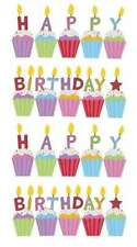 EK SUCCESS STICKO BIRTHDAY CAKES CUPCAKES PARTY GLITTER SCRAPBOOK STICKERS