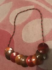 Red Orange Chunky Discs Vintage Necklace Indian African
