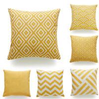 Throw Pillow Case Mustard Yellow Fabric Cotton Linen Cushion Cover Home Decor KA