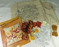 "Bucilla Crewel Embroidery Kit #2461 Autumn Spray 16"" Square Decorator Pillow"