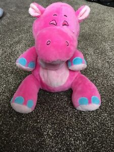 """Nuby Tickle Toes Pink Hippo Giggling Pink Nose Ears Plush 8"""" Stuffed Toy Lovey"""