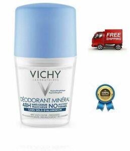 Vichy Deodorant Mineral Roll On, 50ml, Aluminium FREE, alcohol & paraben-free.