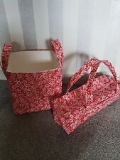 Large Knitting Needle Bag and Matching Storage Basket. Red/Pink Floral. Handmade