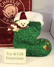 Charlie Bears Árbol Verde Navidad Calcetín Con Miniatura Oso! (edición Limitada)