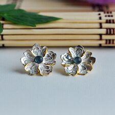 925 Sterling Silver Green Tourmaline Peony Flower Leaf Earrings Gold Butterfly