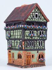 Christmas ceramic tea light holder House Colmar France 14cm Midene clay handmade