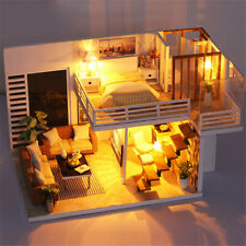 DIY Loft Handcrafted Woode Dollhouse Toy Miniature Furniture Kits LED Light Gift