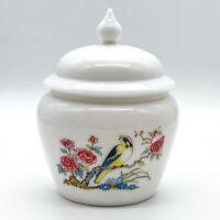 Vintage AVON Deckeldose 70er Jahre No. 6 Milchglas mit Vogel-Bemalung 15cm #K103