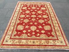 Traditional Hand Made Natural Dye Afghan Wool Red Zigler Large Rug 233x173cm