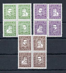 DENMARK , 1924 , three scarce BLOCKS OF FOUR , POSTAL JUBILEE , MNH !