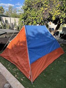 Vintage Original Eureka Timberline tent Orange Blue 1970s Pup A-Frame w/Fly