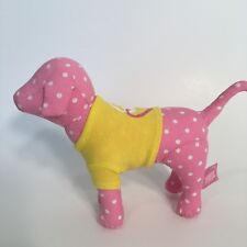 Victoria's Secret PINK 2009 Peace & Love Dog Plush Stuffed Animal Yellow Shirt