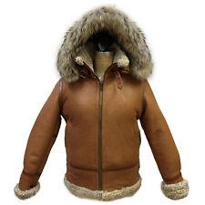 Winter Women B-3 Bomber Cognac  Genuine Shearling Jacket, Natural Fur Hood L