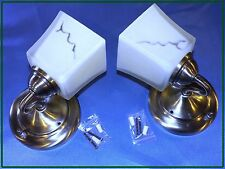 PAIR OF RV ANTIQUE BRASS WALL LIGHTS 12V , 18W WITH SWITCH, GLOBE, BULB /MARINE