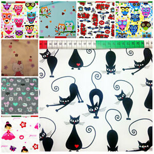 Fabric Nursery Kids Baby 100% COTTON Material Boy Girl Owls Princess cat,car