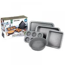Salter Mármol capa antiadherente gris 5 piezas pastel galletas Bandeja de Horno