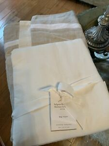 Pottery Barn Belgian Flax Linen Duotone Bed Skirt King Flax Natural White Nwt