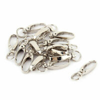 Metal Swivel Lanyard Snap Hook Keychain Claw Clasp Clips Silver Tone 14 Pcs