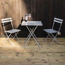 Marko Folding Metal Outdoor Patio Bistro Set Garden Furniture Grey White Mocha