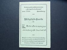 Original Mitglied-Karte Gebirgstrachtenverein ALMFREIDEN Hamburg 1940