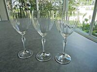 "Set of 3 Crystal Wine Glasses 8 3/4"" Tall Floral Stem"