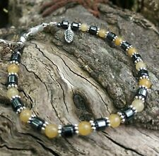 Yellow Jade & Black Hematite BEEspoke and Support Bracelet - Free Gift Included