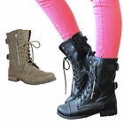 LADIES WOMENS MILITARY BOOTS ARMY COMBAT ANKLE LACE UP FLAT BIKER ZIP SIZES 3-8