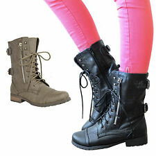 Ladies Womens Military BOOTS Army Combat Ankle Lace up Flat Biker Zip Size 6