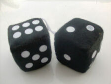 FUZZY DICE IN BLACK FOR THE REAR VIEW MIRROR ALL CAR AND TRUCKS FOR FUN  3 INCH