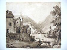 Intéressant Lavis d'Encre de Jules Nicolas SCHITZ (1817-1871)