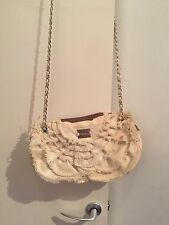 Immaculate Cream Material And Tan Leather Modalu London Handbag/Shoulder Bag