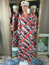 Vintage 70s Hippie Boho Black White Red Geometric Maxi Dress Sz LG Bold Colors