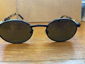 Vintage Fossil Hawk CS1008 Blakc Metal Oval Sunglasses with Tortoise Frame