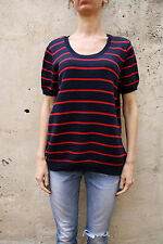 Tommy Hilfiger Jumper Womens Knitted Striped Crew neck Short Sleeve Cotton XL