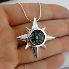 North Star Real Working Compass Necklace-925 Sterling Silver Pendant SN