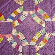 Linens Quilt Cover Bedspread Hand Stitched Double Ring Purple Mauve 66x84