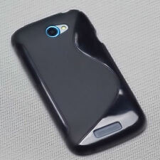 Rubber silicona TPU, móvil cover case funda carcasa tapa en negro para HTC One S