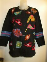MICHAEL SIMON Lite S Football Team Themed Cardigan Button Down Top Embroidered