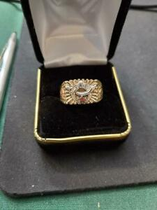 VINTAGE SHRINER RING IN 10 K YELLOW GOLD WITH WHITE GOLD ACCCENT