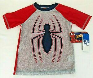Marvel Toddler Boy's Red Navy Gray Spiderman Rash Guard Swim Shirt Size XS (4-5)