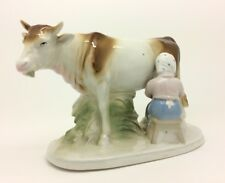Continental German Porcelain Figure Farm Girl Milking Cow 22cm Long