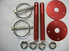 """Performance Aluminum Hood Pin Kit With 1/2"""" Pins And 1/4"""" CLIPS RED IMCA RACING"""