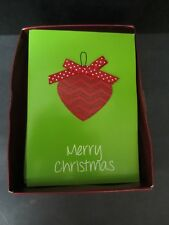 Box Of 10 Christmas Cards w/ Real Festive Ribbon Bow And Matching Envelopes