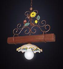 lampadario bilancere rustico 1 luce ferro battuto ceramica e legno mod. girasole