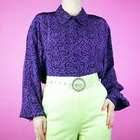 VINTAGE 1990s Baroque Floral 1980s Purple Retro Pattern Blouse Shirt Top M 14 12