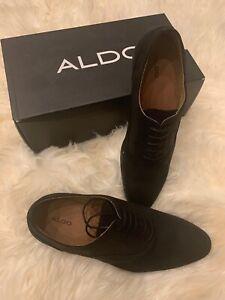 ALDO GOANIA Oxford Men's 12 Black Suede Dress Casual Cocktail Lace-Up Shoes $125
