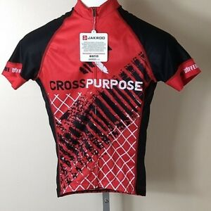 Jakroo Women's Small Full Zip Cyling Shirt NWT - Red and Black