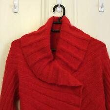 Hand knitted angora red jacket size 10-14
