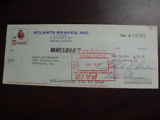 Vintage 1969 Atlanta Braves Cancelled Check to Sears and Roebuck