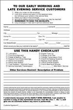 500 Automotive Night Drop Envelopes 6 x 9 Repair & Service Departments
